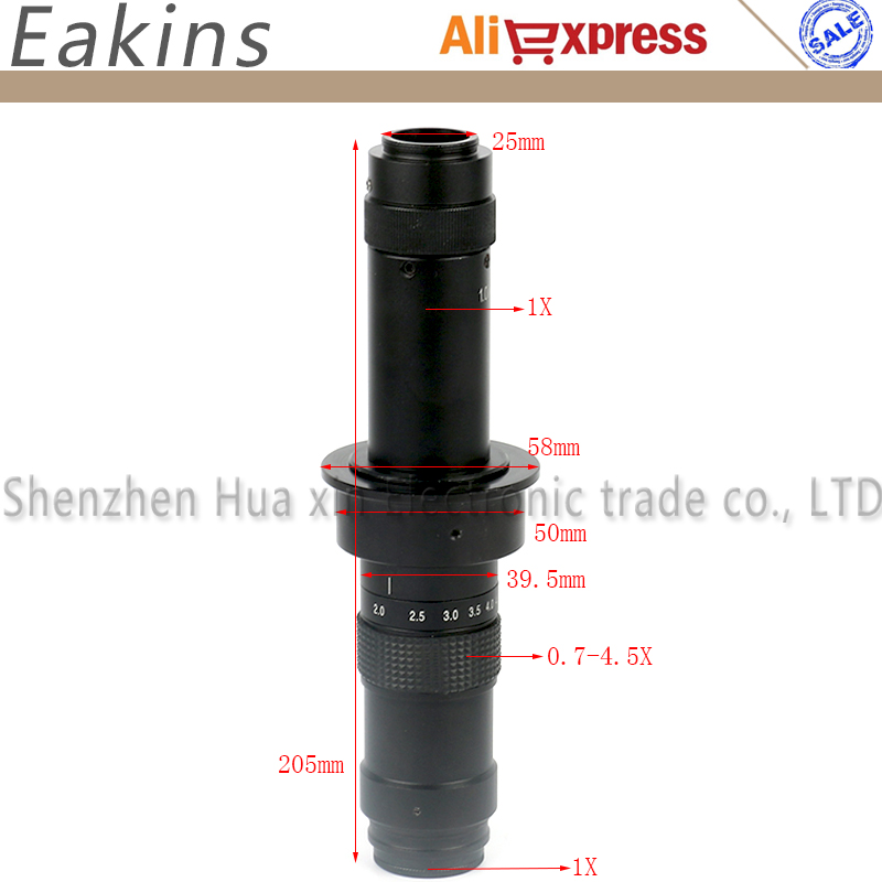 300X Parallel light path lens C mount continuous zoom for Microscope camera HD monocular lens