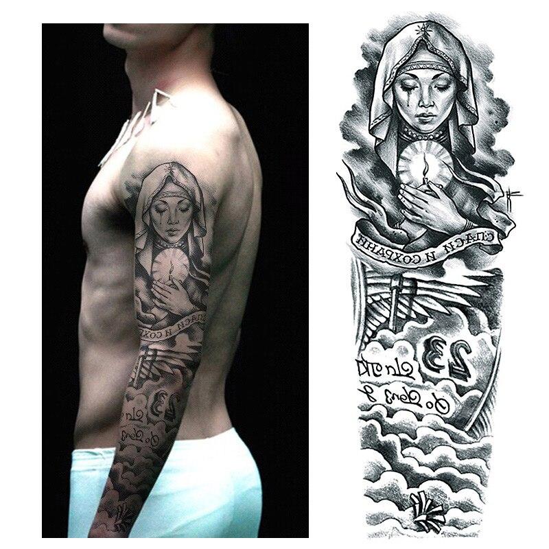 Us 186 Wodoodporna Tymczasowa Naklejka Tatuaż Pełne Ramię Duży Rozmiar Patrona Na Morze Tatuaż Naklejki Flash Tatuaż Fałszywe Tatuaże Dla Mężczyzn