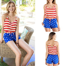 Two piece set Women American Flag Stripe Print Tops Star Bandage Shorts Suits Ladies Sets tracksuit two piece set top and pants(China)