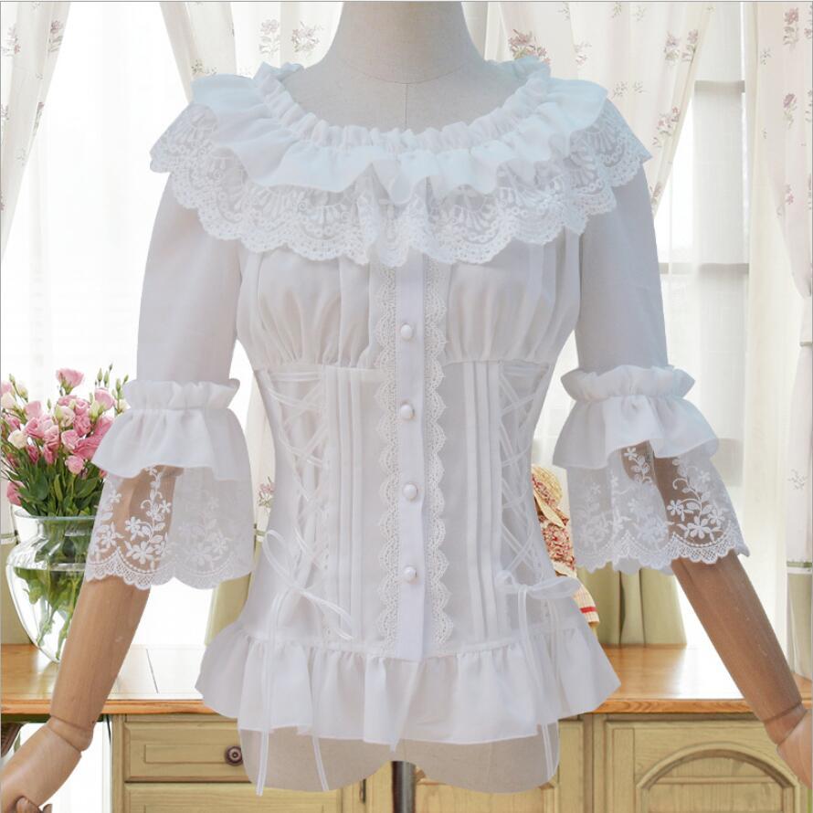 Chemise femme Lolita manches trompette trois quarts chemise gothique en mousseline de soie dentelle à volants chemise lolita classique victorienne lolita