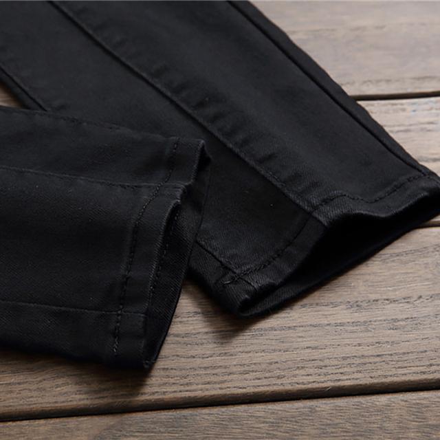 Sokotoo Men's plain black all match slim skinny denim jeans Patchwork straight pants