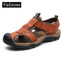 Valstone 브랜드 정품 가죽 샌들 남성 2018 뜨거운 판매 신발 여름 천연 가죽 슬리퍼 비치 워킹 아파트 대형 46