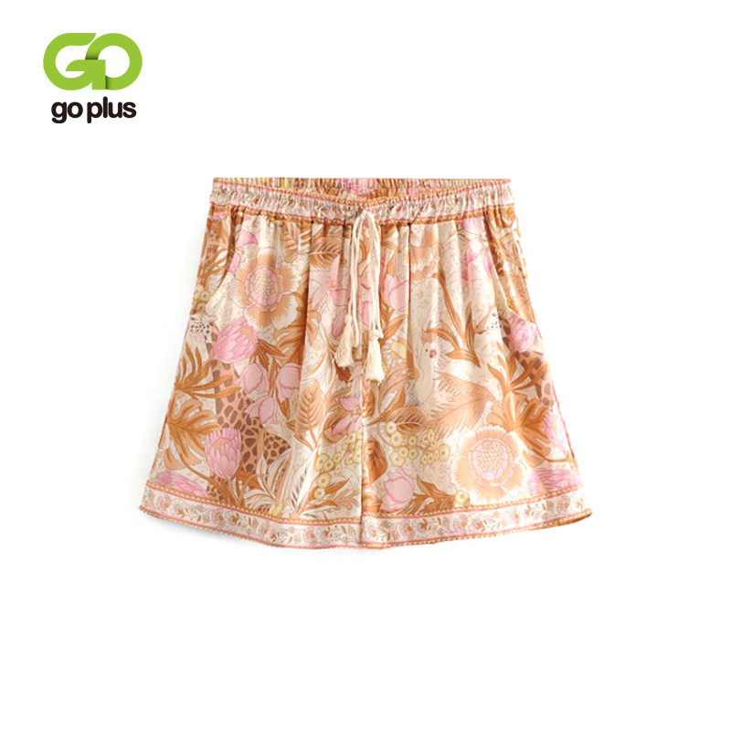 GOPLUS Summer   Shorts   Women Vintage Orange Print Bow Elastic High Waist   Shorts   Womens Casual Loose Pantalones Cortos Mujer C7941