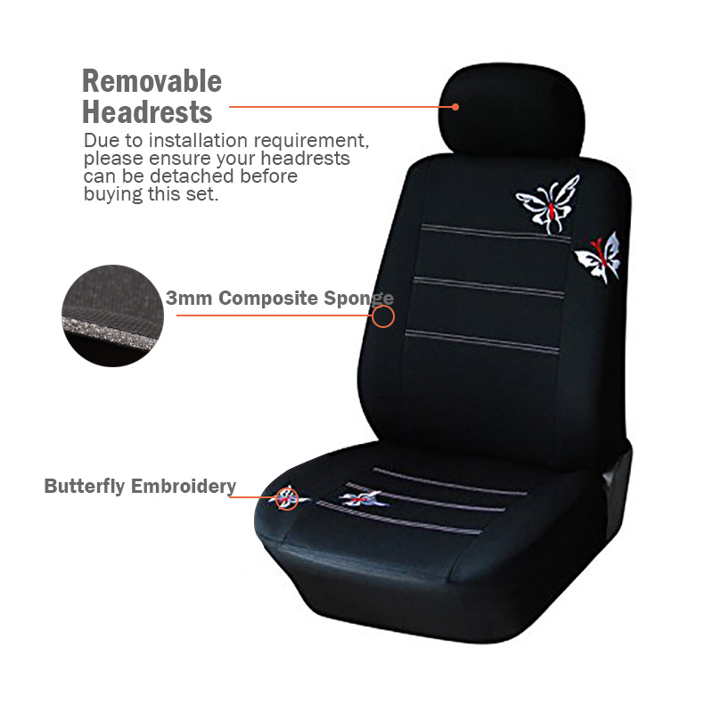 AUTOYOUTH Full Set Car Seat Covers Universal Fit Split Rear Bench Butterfly Accessories Flowers Styling Women Like In Automobiles From