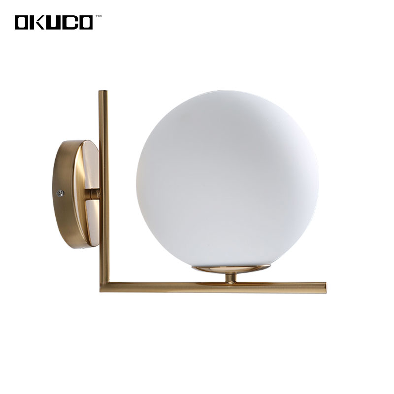 Modern Glass Ball Wall Lamp Fixtures For Bedroom Room Bathroom Design Hallway Gate Home Lights Coffee Restaurant Decorated novelty led wall lamps glass ball wall lights for home decor e27 ac220v