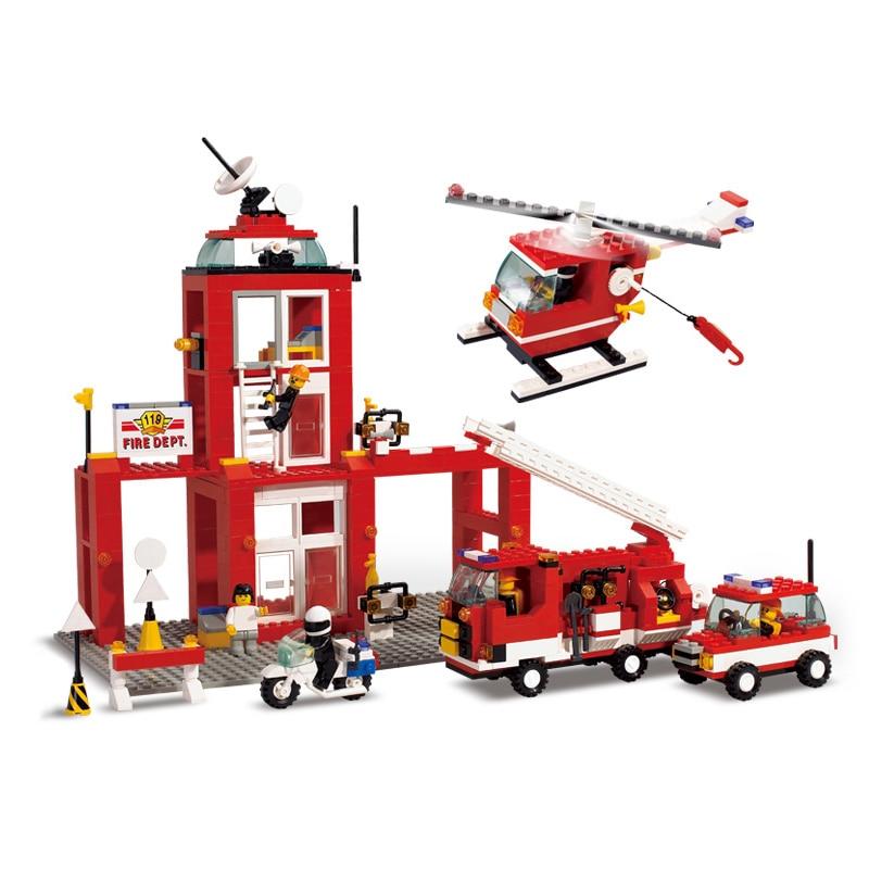 Sluban Model font b Toy b font Compatible with Lego B3100 631pcs Emergency Fire Station Model