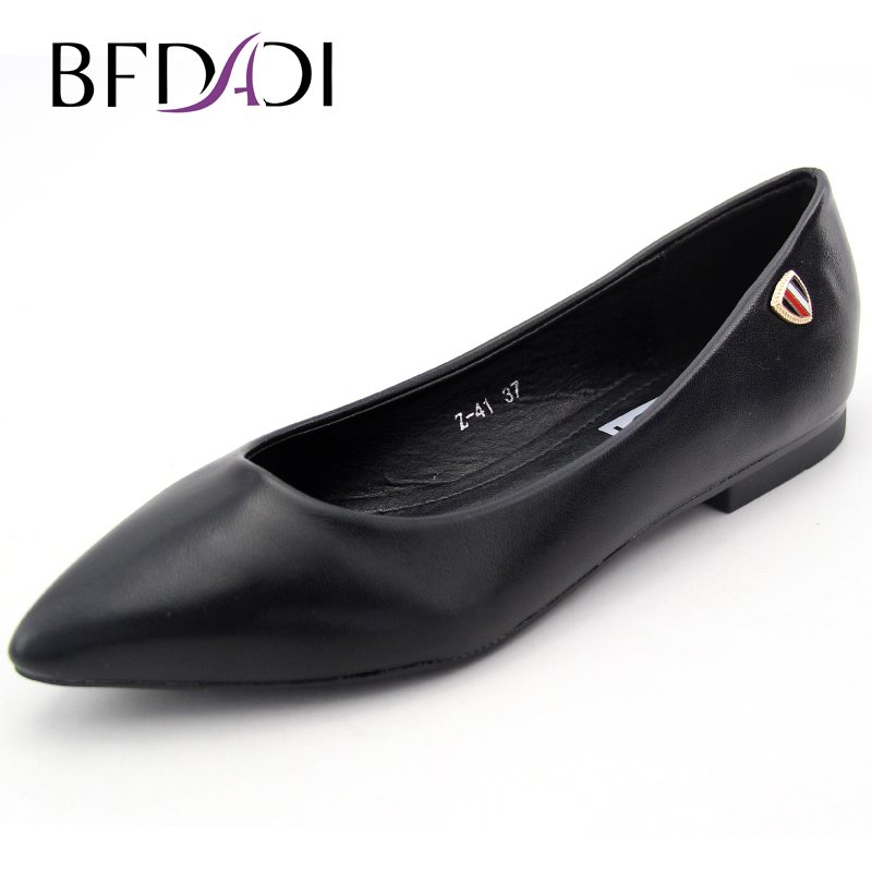 BFDADI 2017 New Autumn Fashion Women Shoes Pointed Toe Slip-On Flat Shoes Woman Comfortable Casual Flats Z-41 women flats slip on casual shoes 2017 summer fashion new comfortable flock pointed toe flat shoes woman work loafers plus size