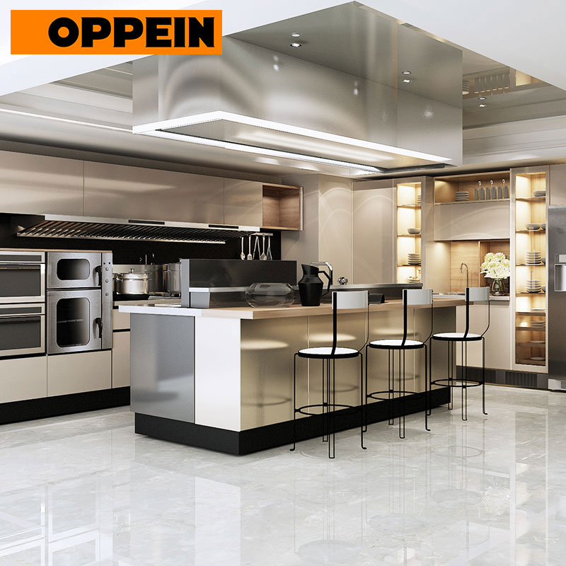 OPPEIN European Quality Customized Stainless Steel Kitchen Cabinets With Island (OP17-ST01)