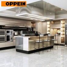 OPPEIN Европейское качество Заказные кухонные шкафы из нержавеющей стали с островом(OP17-ST01