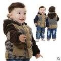 Новый зимний сгущает теплый плед детская одежда устанавливает мальчиков одежда наборы 2 шт. детская одежда зима мальчик замороженные одежда наборы