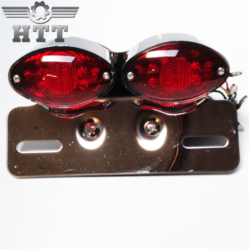 Aftermarket free shipping motorcycle parts Universal Cat Eye Custom Motorcycle Tail Brake License Plate light CHROME + RED aftermarket free shipping motorcycle parts eliminator tidy tail for 2006 2007 2008 fz6 fazer 2007 2008b lack