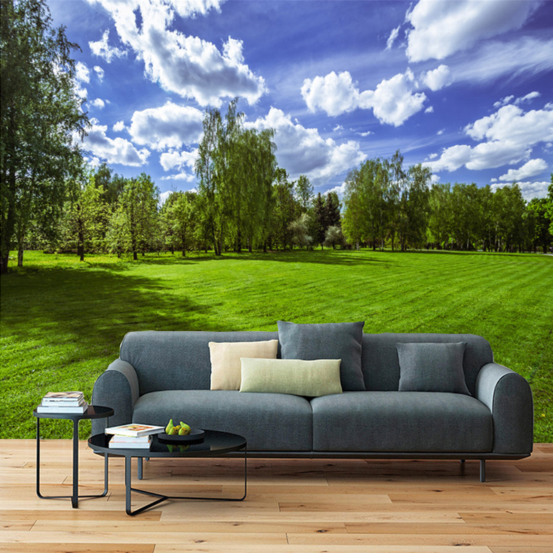 Custom 3D Photo Wallpaper Blue Sky White Clouds Green Grassland Nature Landscape Mural Wall Painting Living Room Decor Wallpaper children room blue sky ceiling wallpaper white clouds wallpaper for kids bedroom blue sky and white clouds wallpaper paper roll