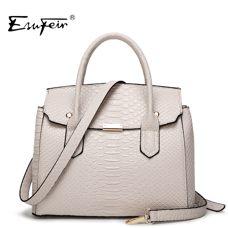 ESUFEIR 2018 Luxury Serpentine Women Handbag Famous Brand Designer Leather Women Bag Shoulder Bag Casual Tote bolsas sac a main 2017 new casual snake pattern genuine leather women handbag serpentine fashion shoulder bag luxury brand designer female totes