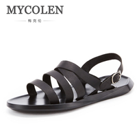 MYCOLEN Summer Luxury Italian Brand Genuine Leather Buckle Strap Sandal Men Casual Flat Rubber Sole Antiskid Shoes Sandals