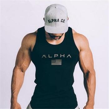ALPHA brand 2019 new arrival sportscholen Fitness Hooded Tank Top fashion heren kleding Losse ademende mouwloze shirts Vest 1