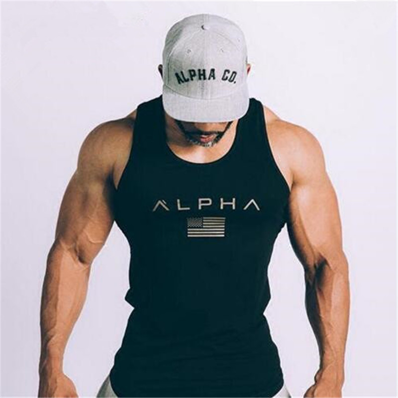 ALPHA brand 2019 new arrival sportscholen Fitness Hooded   Tank     Top   fashion heren kleding Losse ademende mouwloze shirts Vest