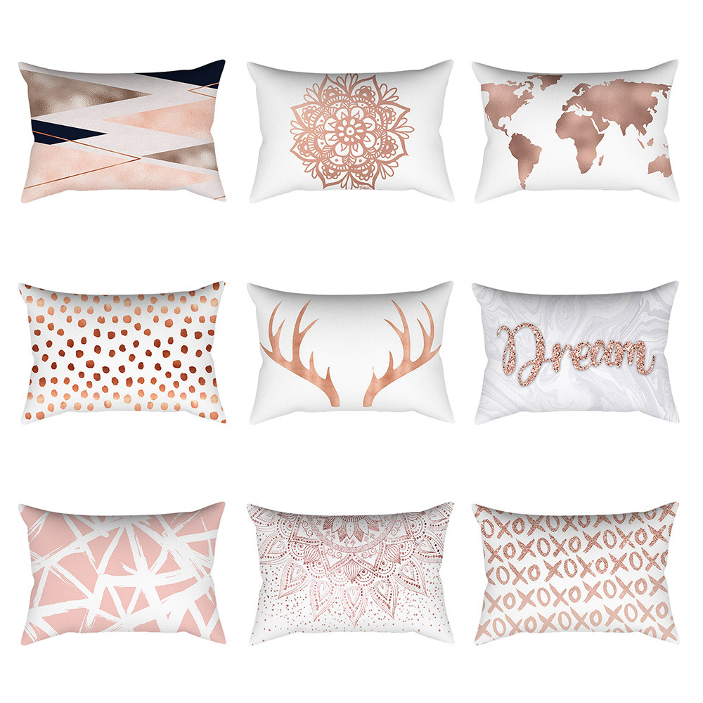 Pillowcases Cushions Linen Pillow Cases For Pillows Rose Gold Pink Square Pillowcase D411