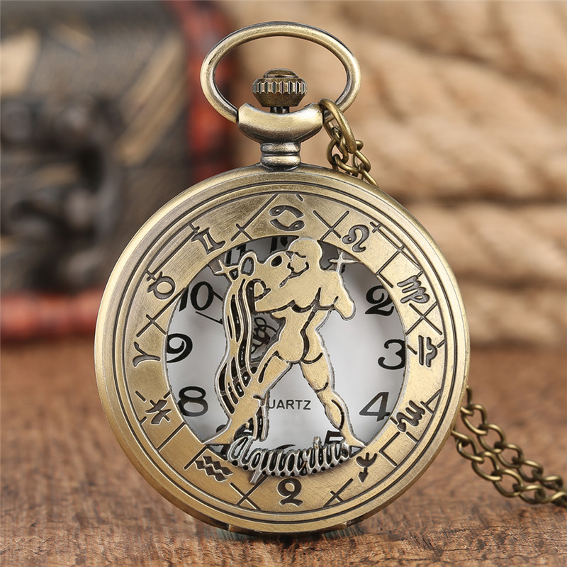 Vintage Aquarius Pendant Pocket Watch Women Twelve Constellations Bronze Quartz Clock Retro Mens Watches Reloj Gift беспроводной маршрутизатор tp link tp link wr841n 300m wifi