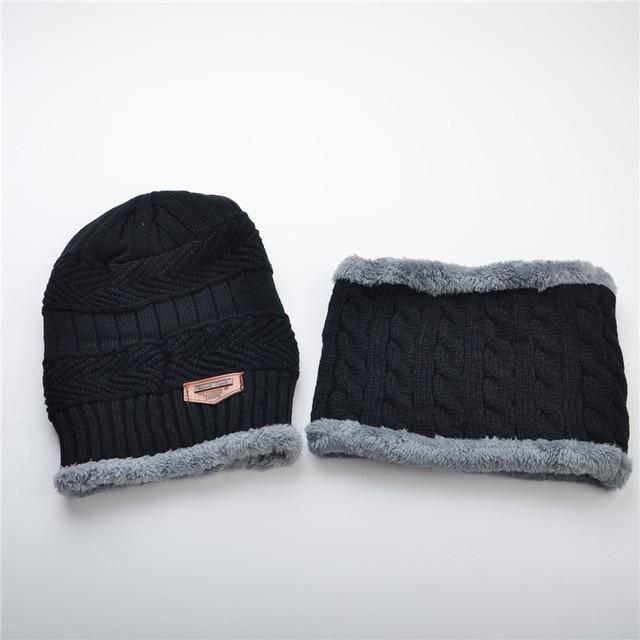 Beanie hat scarf set knit hats caliente grueso gorro de invierno para los  hombres y la ebacf2f0938
