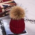 15 cm de piel de mapache casquillo de la bola de pom poms winter hat para la mujer chica lana de sombrero de punto gorros cotton cap marca gruesa nuevo casquillo hembra