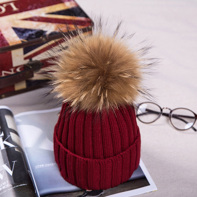 15cm Raccoon fur ball cap pom poms winter hat for women girl 's wool hat knitted cotton beanies cap brand thick new female cap new star spring cotton baby hat for 6 months 2 years with fluffy raccoon fox fur pom poms touca kids caps for boys and girls
