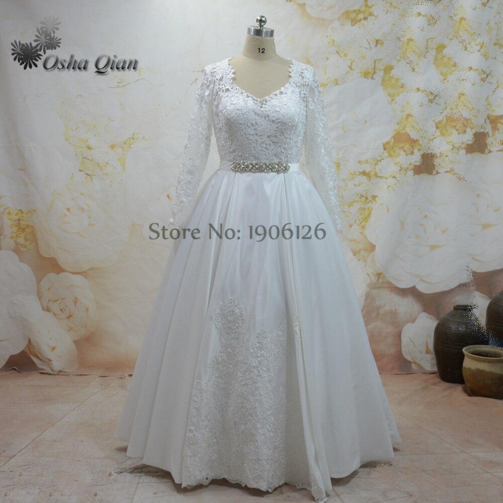 Vestido de noiva manga longa Off White Long Sleeve Wedding Gowns ...