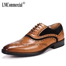 купить Business Mens Leisure Shoes men dress shoes Genuine Leather shoes wedding low hell designer shoes men high quality British retro онлайн