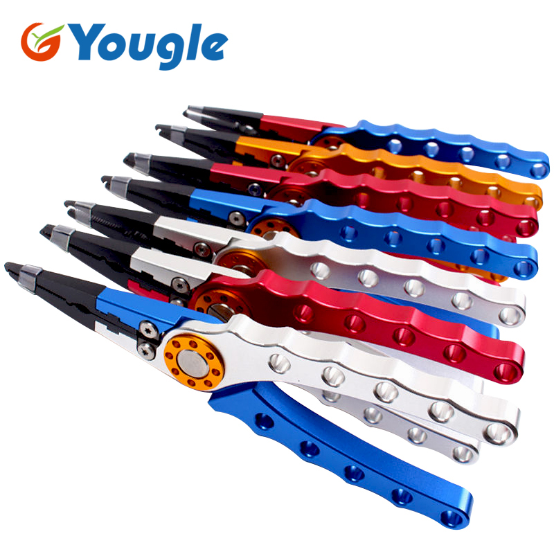 YOUGLE 7.9'' Aluminum Fishing Plier Scissors Hook Remover Fish Line Cutter Tackle Sheath