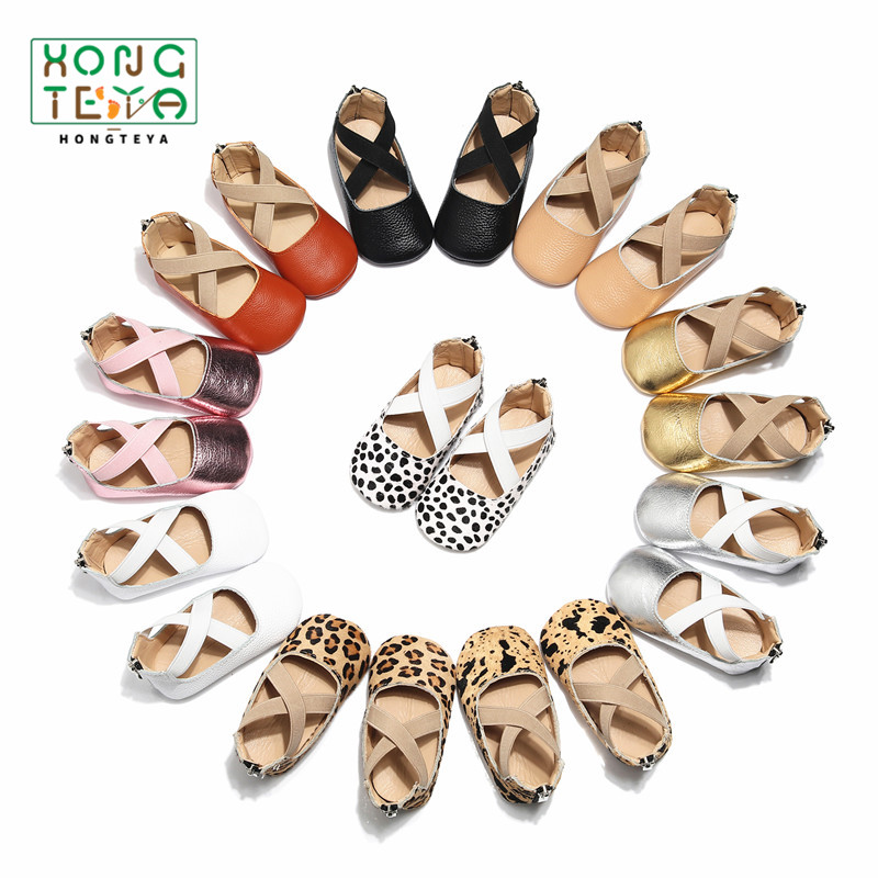 Newborn Girls Ballet Flats Shoes Baby Girls Princess Shoes For Party Genuine Leather Crib First Walkers Soft Soled Shoes