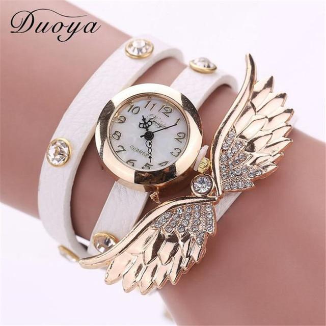 Duoya Brand Women Watches Bracelet Watch Ladies Leatheroid Diamond Quartz Wrist