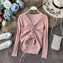 New Arrival 2019 Sweaters Women V neck Long Sleeve Solid color Retractable Lace up Decorative Jumper Tops Pull Femme Clothing