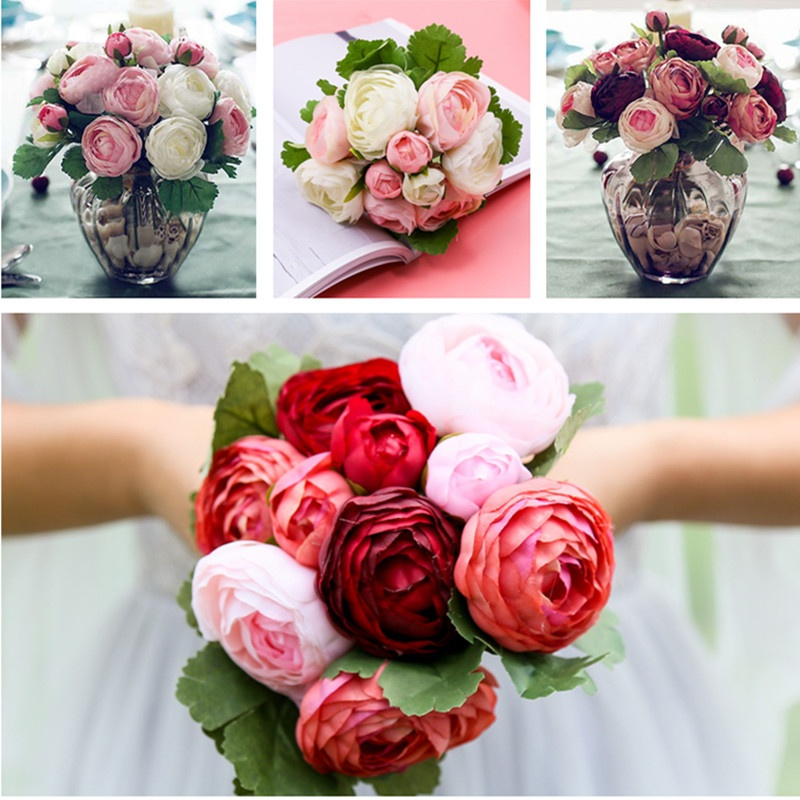 10 Heads Artificial Silk Flowers Camellia Hands Holding Silk Flower Bridal Bridesmaid Bouquet Latex Real Touch Wedding Decor