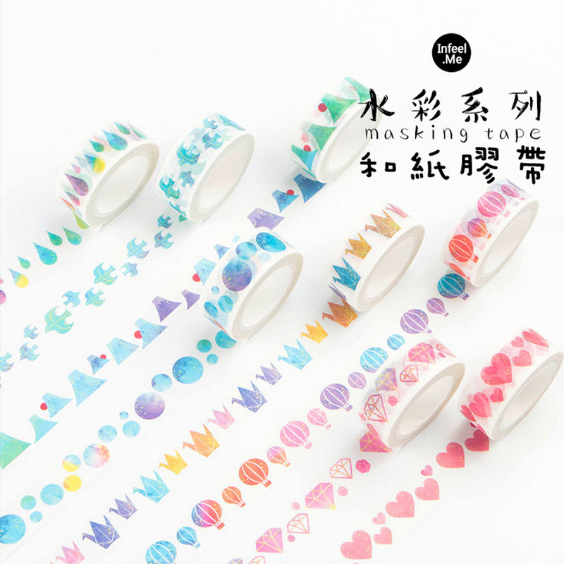 1.5cm*7m Infeel Watercolor Series washi tape DIY decorative scrapbooking planner masking adhesive tape label sticker stationery aagu 1pc 8mm 7m label stationery red black dot stripe washi tape decorative masking tape lovely high viscosity paper sticker
