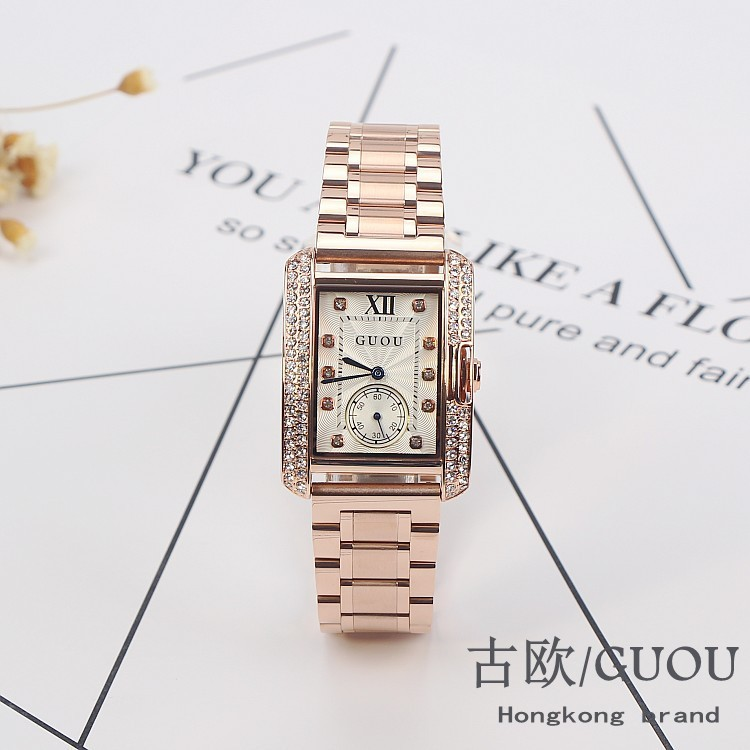 HK GUOU Brand Gold Steel Watch retro Fashion Square Diamond bracelet Ladies Quartz Luxury Woman Gift Wristwatches|wristwatch brand|wristwatch women|wristwatch women gold - title=