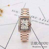 HK GUOU Brand Gold Steel Watch retro Fashion Square Diamond bracelet Ladies Quartz Luxury Woman Gift Wristwatches