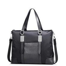 New Fashion Bag Men's Waterproof Nylon Genuine Leather Top Handle Tote Handbag Versatile Casual Crossbody Bag Strap Shoulder Bag