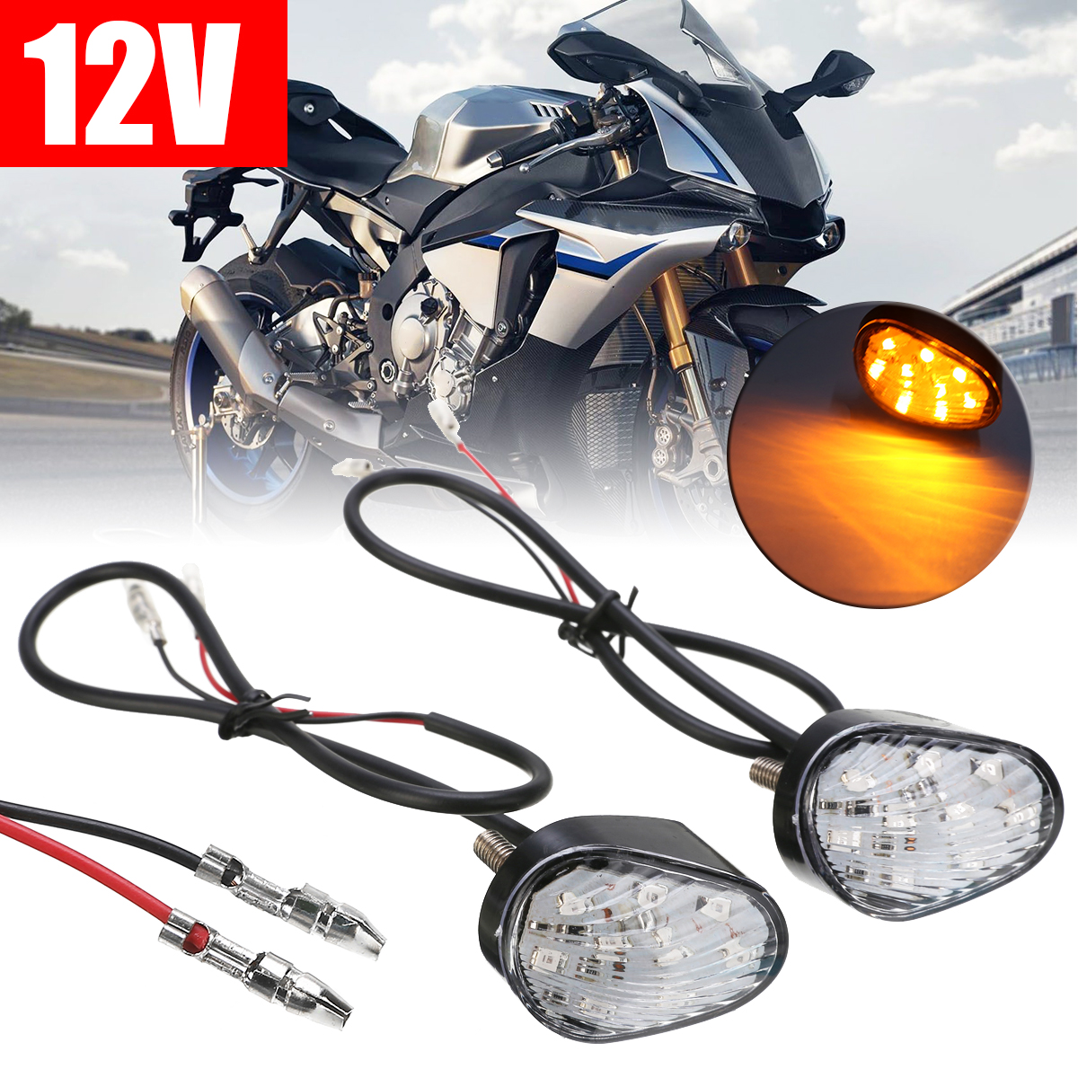 Mayitr 1pair 12V Motorcycle Amber <font><b>LED</b></font> Turn Signal Indicator Lamp Flashing Blinkers <font><b>Light</b></font> For <font><b>Yamaha</b></font> YZF <font><b>R1</b></font> 02-12 YZF R6 03-12 image
