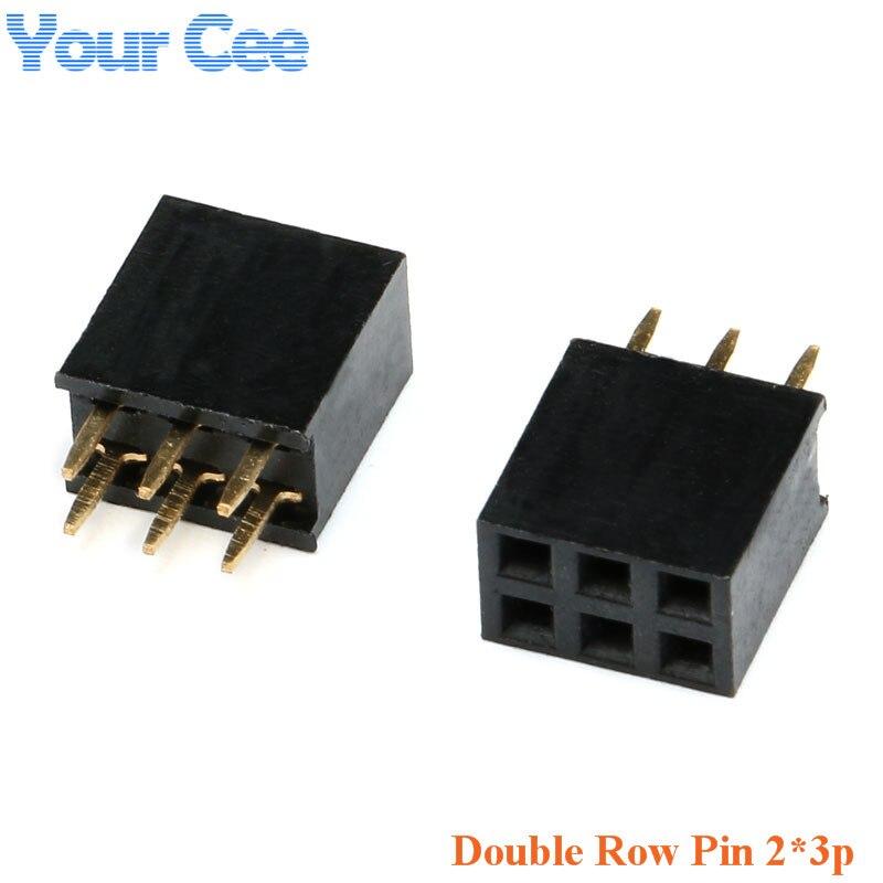 20 pcs Double Row Straight Pin Female Pitch 2 54mm 2 3p 3Pin 2 3 Needle