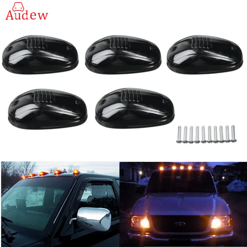 5Pcs 9-LED Smoke  LED Cab Roof Running Marker Yellow Lights Clearance Light Pickup Truck Lamp For Truck SUV Off Road 12V