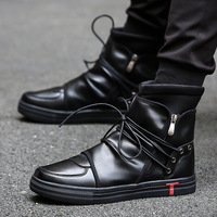 2017 Hip Hop Rock Men Shoes Fashion Kanye West Boots Autumn Soft Leather Footwear High Top