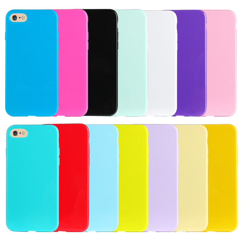 Jelly Color Slim Case For iphone X 6 6S 7 8 Plus Solid Candy Glossy Soft TPU Protective Back Cover Rose Green Purple
