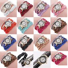 Fashion Casual Quartz Women Rhinestone Watch Braided Leather Bracelet Watch Gift Relogio Feminino Gift wholesale Free shipping