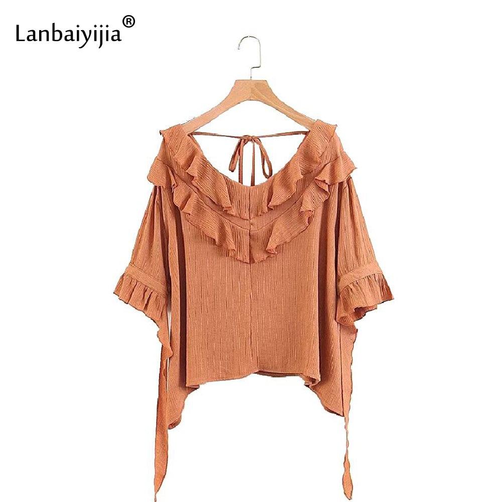 Lanbaiyijia Newest T shirt Slash neck Solid irregularity Ruffles Women t shirt lace up Summer tees
