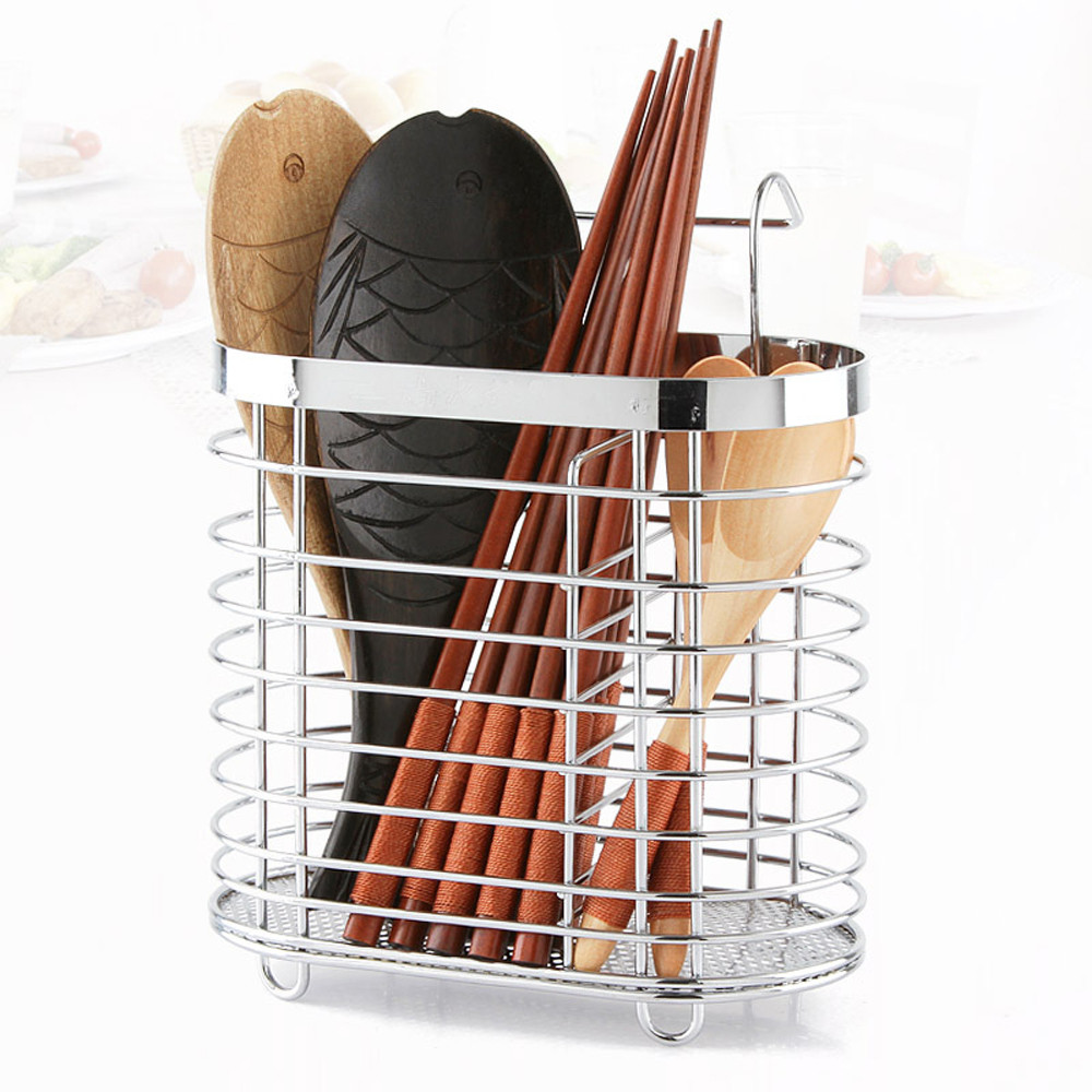 Hanging Tableware Tube Cage Rack Drain Chopsticks Spoon Holder Metal Organizer Stainless steel chopsticks holder in Racks Holders from Home Garden