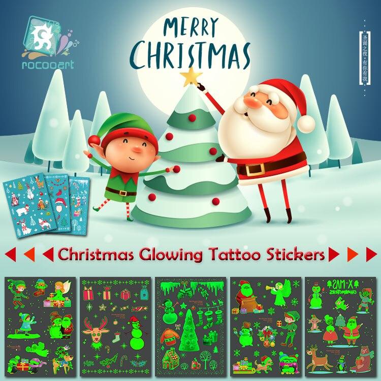 Rocooart Christmas Glowing Tattoo Stickers Luminous Temporary Tatoo Snow Man Fake Tattoo Santa Flash Taty New Year Gift For Kids