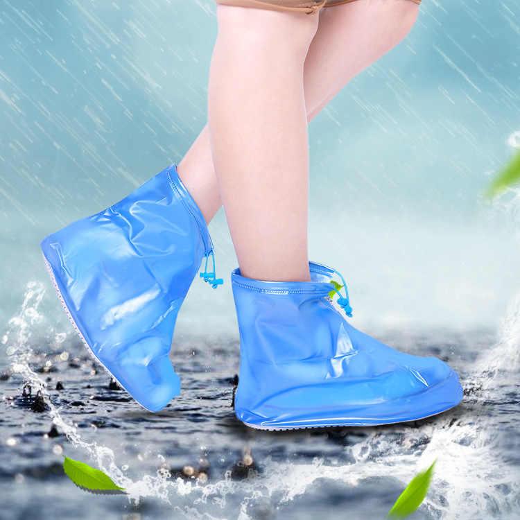 De alta calidad de las mujeres de los hombres de lluvia impermeable cubierta de botas reutilizable de las cubiertas más gruesas antideslizante plataforma lluvia boots2019