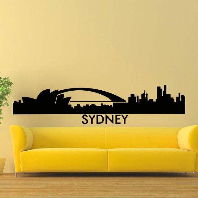 Wall decal vinyl sticker sydney skyline city silhouette decor