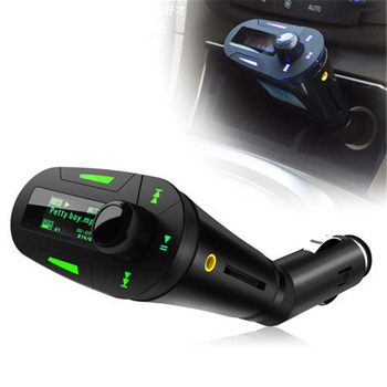 Remote control+ Car kit Car MP3 Player Modulator FM Transmitter High Quality Green LCD Remote radio Wireless USB SD MMC LCD image