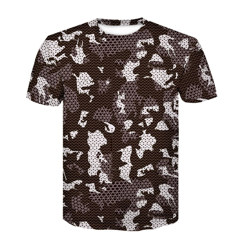 2018 new camouflage summer short sleeved 3 D print tight t-shirts