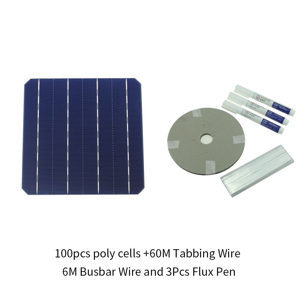 100Pcs Monocrystall Solar Cell 6x6 With 120M Tabbing Wire 10M Busbar Wire and 5Pcs Flux Pen diy solar panel 270w 100pcs monocrystall solar cell 5x5 with 60m tabbing wire 6m busbar wire and 3pcs flux pen